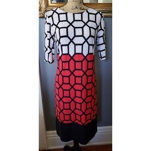 VINTAGE 1990's R&K Geometric Mod Red Black Dress